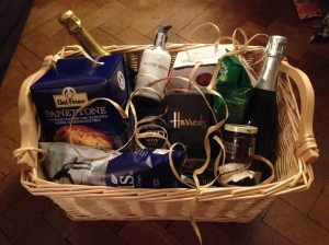 Bursting with Christmas promise... the luxury hamper is 4th prize in our raffle draw.
