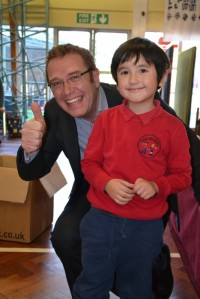 Hard to tell who's happier: Mr Scarborough or our lucky winner.