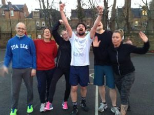 Staff team share an emotional moment: it's a game of two halves, and they won all four of them.